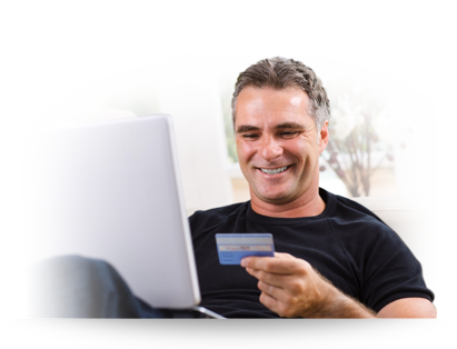 man holding faster money card